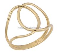 Singapo New Arrive 14k Yellow Gold Stylish Overlap Ring for Women,Lady