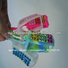 artículos de promoción de la mano de gel desinfectante para las manos de titular de silicona con el diamante