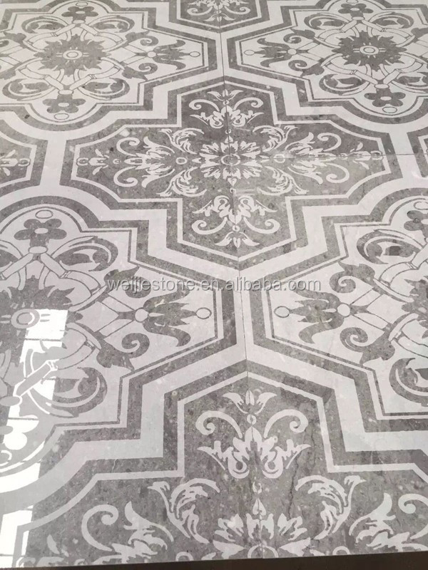 Grey Marble Floral Pattern Carved Floor Tile Designs For