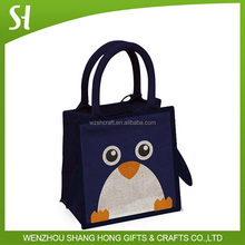 Wholesale Custom printed cute penguin animal kid hand jute hand tote bag eco for lunch promotion Party gift home decoration