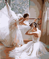 40*50cm Home Decor The Ballet Dancer Frameless Pictures Painting By Numbers Dance Digital Oil Painting Dancing On Canvas DIY