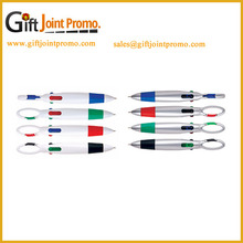 Promotional Printing LOGO 4 in 1 Colors Ballpoint pen with Carabiner Hook