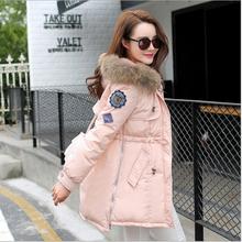 New women Nagymaros collar padded jacket solid color long Korea fashion winter Jackets Comfortable warm coats