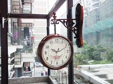Plastic double side wall clock approve ROHS&CE