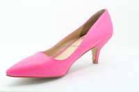 2015 Fashion Pointed Toe Leather shoes/ Mid-heel Pumps /Lady Luxury High Heel Shoes Pumps YJ150528-04