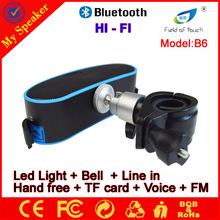 Caliente venta B6 IPX4 altavoces a prueba de agua para bicicletas con la luz llevada