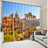 New arrival Arabic style 3d curtain with ancient buildings for home decor