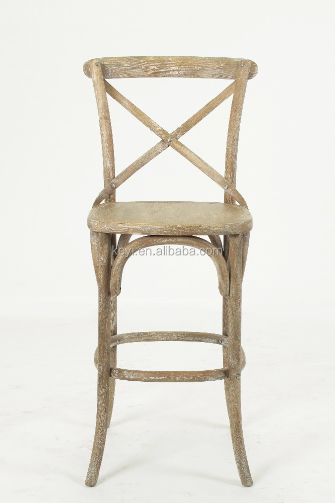 Antique Wooden Bistro Armless Barstool High Chair Ky 3045