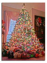 Christmas tree wall art light up led canvas painting decoration