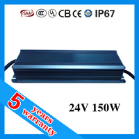 5 years warranty 24V 150W 24VDC waterproof LED power supply , electronic LED driver , LED transformer
