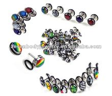 316L LOGO stainless steel inlayed picture logo fake ear plug jewelry