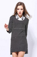Hot sale New design black and white strip long sleeve Dress