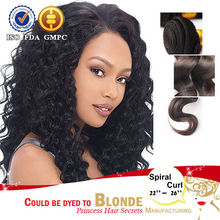 100% Human Hair Weft Large Stock 100% spiral curl Human Hair Wet And Wavy