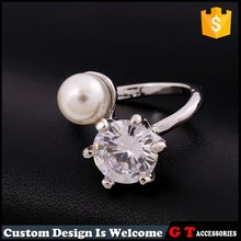 Wholesale zircon silver color ring with pearl round beads, custom fashion metal ring