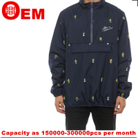 hot sale navy blue all over printing mens fashion windbreaker made in china