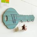 zakka en forma de gancho con rojo blanco y azul nostálgicos recuerdos de madera decorativos de pared gancho