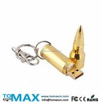 Free logo bulk 16G bullet USB pen drive Golden bullet USB stick keychain thumb key