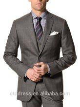 2014 100% calidad de lana a cuadros de color gris de lana italiana trajes formales para más el tamaño de los hombres