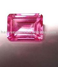 Pulido precio de fábrica caliente de color rosa de la venta rectangle Cubic Zirconia piedra preciosa