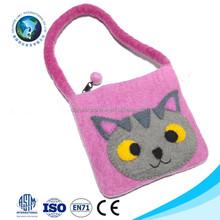Cute cheap christmas wool felt kids bag customized pink cat handmade felt bag