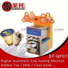 Shentop CE approved Automatic cup Sealer machine With Counter ST-QF07 bubble tea machine Automatic plastic cup sealing machine
