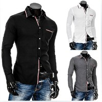 Korean style mens slim fit long sleeve Thin ribbon decoration of Oxford shirts M- XXL 8689