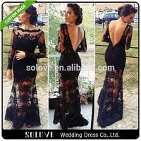 See Through Black mother of the bride dress lace knee length From China