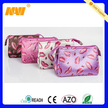 Fashion Polyester Satin Makeup Cosmetic Bag Pouch For Cosmetics With Zipper