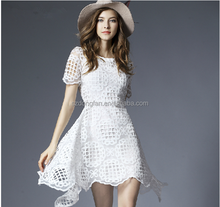Wholesale Women Clothing,New Arrive Women Lace Chiffon White Dress Latest Design Irregular Fashion Dress For Lady