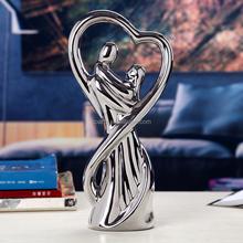 Wedding figurine electroplating ceramic art home decoration