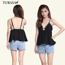 Guangzhou ropa para la caja negro plisado peplum top negro, blusa recortada, ropa en línea