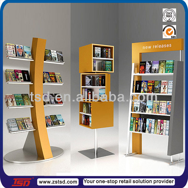 Tsd w165 Custom Book Store Floor Wooden Magazine Display