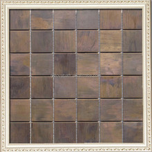 Glazed copper mosaic tiles 2x2 squared antique kitchen bath home fireplace deco