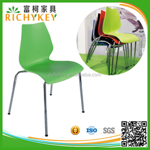 Hot Sales Fast Food Plastic Stackable Restaurant Chair with Chrome Coated Steel Frame