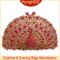 Red crystals and gold metal hollow frame Handmade crystal peacock clutch evening bag IF-HC2044