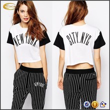 2015 New Arrival Autumn Short Sleeve New York Print Custom Ladies Crop Top