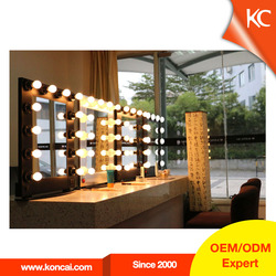 hollywood style makeup mirror with led lights, lighted makeup mirror with stand with aluminum frame and 12 pcs light bulbs