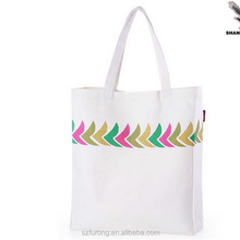 canvas bag with leather trim