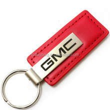 Genuine Red Leather Rectangular Silver Key Chain Fob Ring