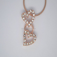 New fashion rose gold plated cz double heart pendant necklace #14130