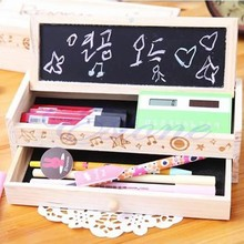 HOT Multifunction DIY small blackboard wooden bunk stationery drawer wooden pencil box pencil pen male and female students