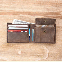 Bi-fold brown first crazy horse leather wallet mutil-purpose pocket wallet leather card wallet coin bag europe mens leather wall
