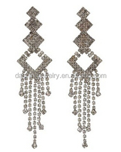 Grey Crystal Fringe Geometric Dangle fringe earrings