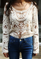 Wholesales White/Black Long Sleeve See Through Sexy Lace Tops Women PW-PLM-505