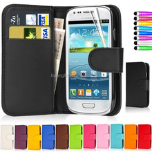 For Samsung Galaxy S3 MINI I8190 Flip Wallet Leather Stand Case Cover With Card Holder + Screen Guard
