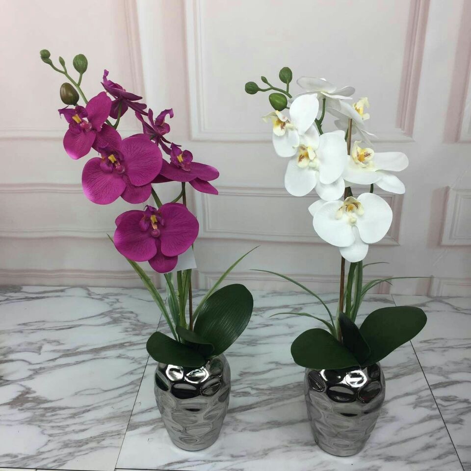 Artificial White Orchid Potted Plantartificial Orchid With Potfake