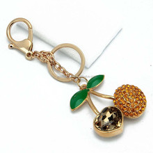 Cherry shape metal hollow out rhinestone fruits keyring