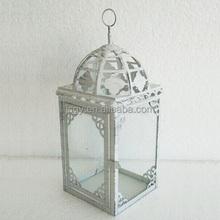 Glass iron lantern moroccan style home decor