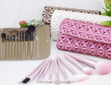 Noconi Custom Made 10pcs Professional Makeup Brush Set With Different Color Shiny Cosmetic Bag