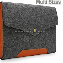 "Gray Felt Case Real Leather Bottom Bag Magnetic Button Sleeve for 13"" Laptop"